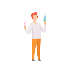 Young man standing and holding two ice cream in vector