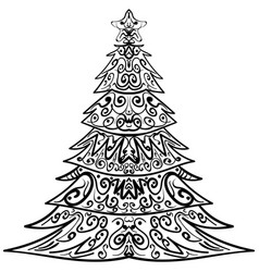 Zentangle christmas tree decorative doodle vector