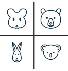 Zoology icons set collection bunny rat vector