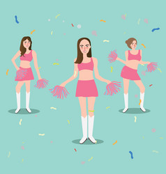 cheer leader girl with pompoms sport beautiful vector image vector image