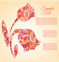 doodle flower tulips zentangl drawing holiday vector image vector image