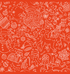 doodles merry christmas seamless pattern vector image
