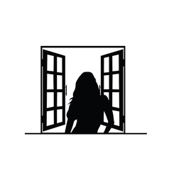 girl front window silhouette vector image