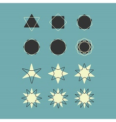 Line and silhouette geometrical shapes icons set vector image vector image