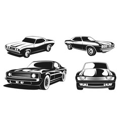 monochrome set of retro muscle cars vector image vector image