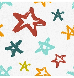 seamless childish pattern with hand drawn stars vector image vector image