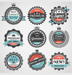 Set of premium quality guaranteed genuine badges vector image vector image