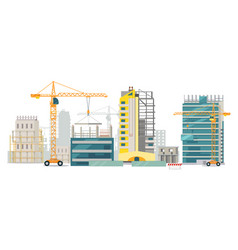 unfinished buildings cranes city construction vector image vector image