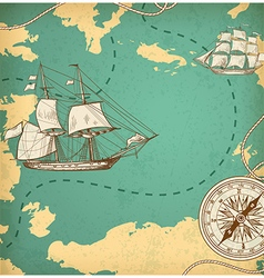 Vintage map with sailing vessels vector