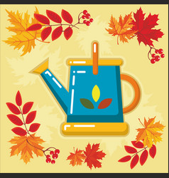autumn agricultural icons with autumn leaves 3 vector image