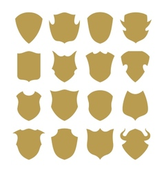 Golden shield silhouette vector image vector image