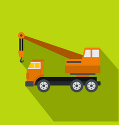 orange truck crane icon flat style vector image vector image