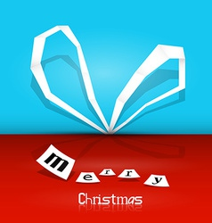 Retro Merry Christmas Background - Blue and Red vector image