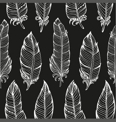 seamless pattern hand drawn bird feathers vector image vector image