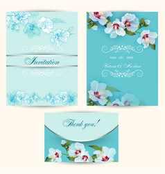 set of invitation cards in turquoise vector image