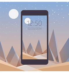 Smooth polygonal landscape design with mobile vector image vector image