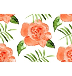 Watercolor seamless roses pattern vector image
