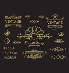 Flower shop emblem vector