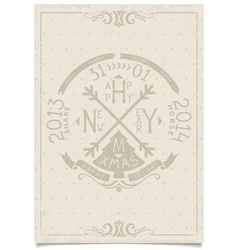 Happy new year vintage paper craft lettering vector image vector image