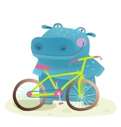 Kid Cute Hippo with Bicycle Childish Cartoon vector image vector image