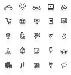 Media marketing line icons with reflect on white vector image vector image