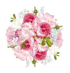 romantic flowers round banner vector image