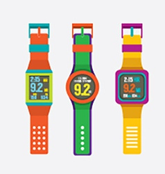Set Of Colorful Sport Watches vector image vector image