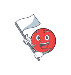 Bowling ball character cartoon with flag vector