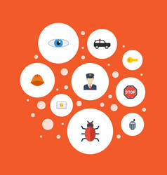 flat icons vision policeman virus and other vector image vector image