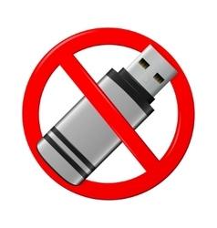No flash drive sign vector image