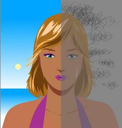 portrait of depressed woman vector image