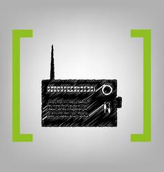 radio sign black scribble vector image