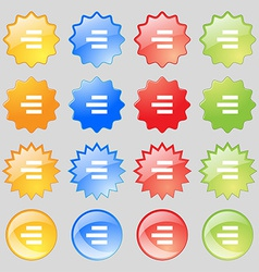 Right-aligned icon sign Big set of 16 colorful vector image