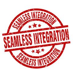 Seamless integration round red grunge stamp vector
