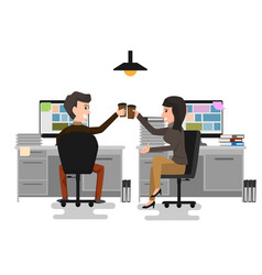 two business man and woman cheers toast drink ice vector image vector image