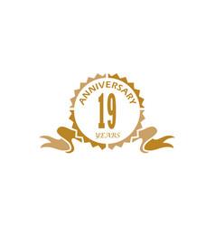 19 years ribbon anniversary vector image