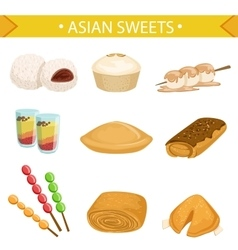 Asian Sweets Famous Dishes Set vector image