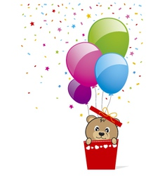 Bear in the gift box vector