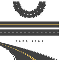 Bend road straight and curved roads set road vector