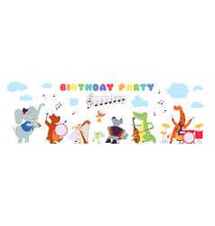 Birthday musical animals musician playing vector