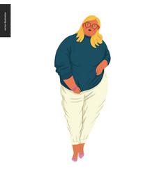 Body positive - female portrait vector