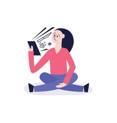 bullying of teen girl sitting alone flat vector image