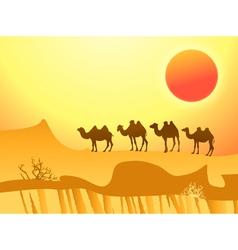 camel caravan vector image
