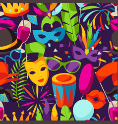 Carnival party seamless pattern with celebration vector