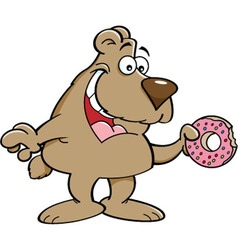 Cartoon bear eating a doughnut vector image