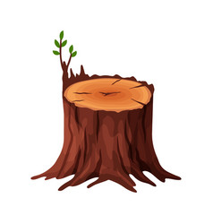 cartoon old tree stump with cracks and roots vector image