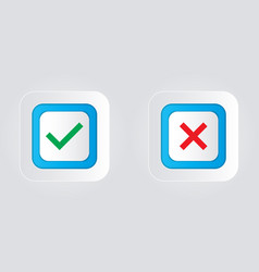 Check marks and crosses on a white background vector