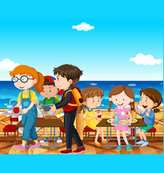 children having lunch by the sea vector image