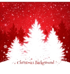 Christmas trees red and white background vector