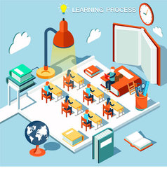 Concept of learning read books in the library vector